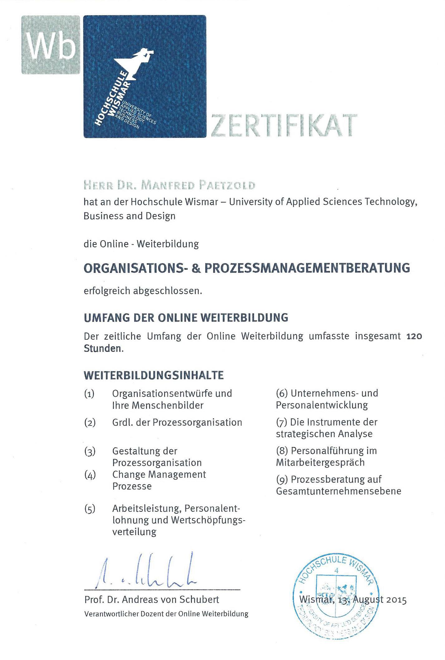 Zertifikat HS Wismar 2015